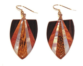 UNIQUE HANDMADE Wood and Shell / Mother of Pearl  Earrings