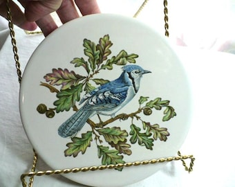 Trivet, Lazy Susan, Bird Lover Gift, Blue Jay, Housewarming Gift, Wedding Gift, Gift For Mom,