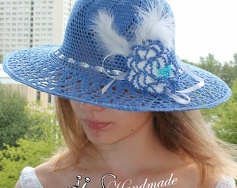 Crochet Hat summer hat with crochet brooch
