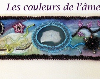 """""""The colors of the soul"""" hand embroidered cuff"""