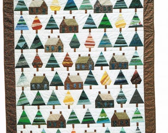 QUILT PATTERN - Pine Trees & Log Cabins Quilt Sewing Pattern - Paper Piecing Quilt - Not a PDF