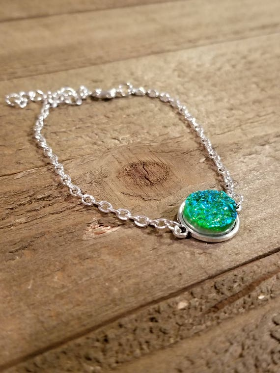 Green Druzy Crystal Gem Stone Gold Link Bracelet Earth Spirit Jewelry Fashion Natural Nature Boho (B60)