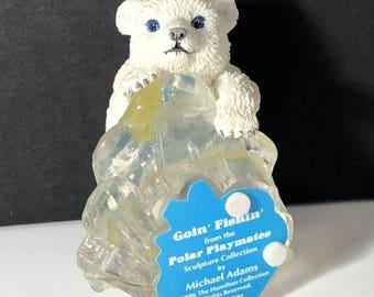POLAR BEAR FIGURINE Hamilton collection Little Friends of the Arctic ice sculpture statue 1999 vintage Playmates Goin Fishin going fishing