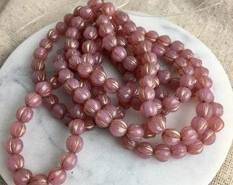 Pink Opal Dusty Rose Czech Glass Melon Beads, 6 mm, 1 mm hole, 25 beads per lot