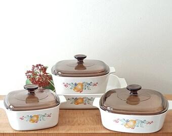 Corning Ware Abundance Set of 4 Casseroles + 3 Brown Pyrex Lids Corelle Abundance Dinnerware Made in the USA