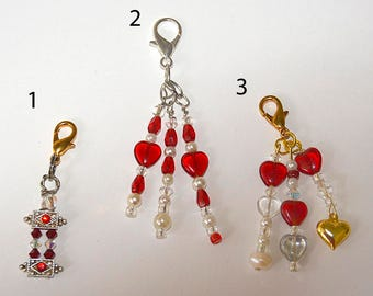 Planner Charms/  Midori Charms /  heart charms / Swarovski / journal charms / Notebook Charms /  purse charm/ zipper pull/charms