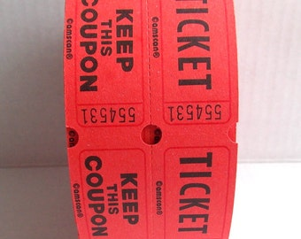 Red Raffle Tickets / Lot of 20 / Carnival Tickets / Daily Planner / Valentine's Day