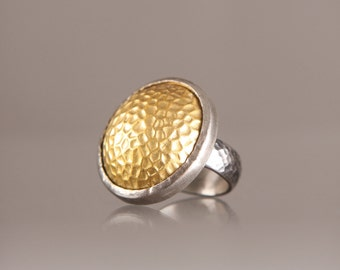 Golden Crater Ring-Sterling Silver