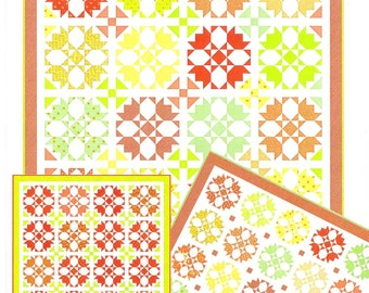Fat Quarter Quilt Pattern - Layer Cake Quilt Pattern - Rosehips Quilt Pattern by Fig Tree & Co - Free Shipping US