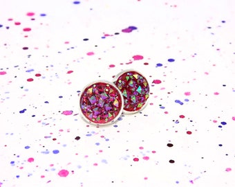 Pink stud earrings - Faux druzy stud earrings - Pink druzy earrings - Sparkly stud earrings - Pink cabochon studs - Pink stud earings