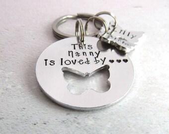 Personalised keyring, nanny gift, women's gift, gift for her, nana keyring, nanny keyring, personalised nana gift, butterfly keyring