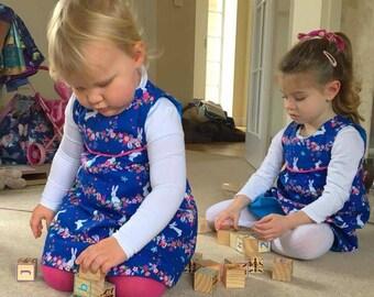 Bunnies and flowers handmade dress, toddlers bunny dress, Easter Dress, Springtime Dress, Cute Bunny dress, Bunny pinafore dress