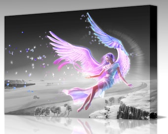 FANTASY PINK ANGEL Wings Colour Splash Framed Ready To Hang Canvas Wall Art Poster Picture Print Home Decor Decoration Living Room