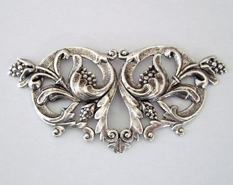 Large Victorian Floral Embellishment Ox Silver over Brass Stamping (1 Pc).