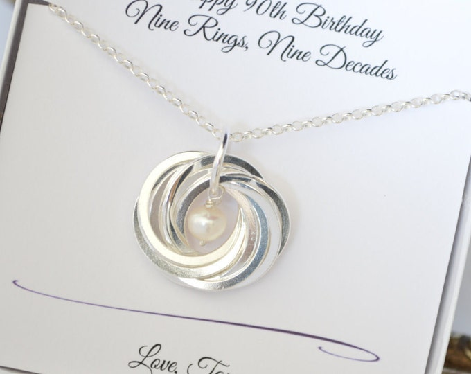 90th Birthday gift for mother and grandmother necklace, June Birthstone, 9th Anniversary gift for wife, Grandmother jewelry, Pearl necklace