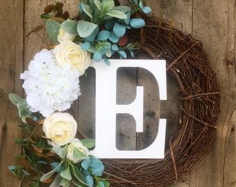 Monogram Wreath, Front Door Wreath , Farmhouse Wreath, Door Wreath, Summer Door Wreath, Wreath With Letter, Summer Wreath, Letter Wreath