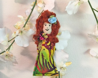 Fiber art doll pin, Tiny Art Doll & pin, Diva Dolly pin, fabric pin, textile pin, doll brooch, fiber pin, fabric doll brooch, Doll pin #12