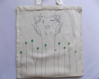 Hand painted cotton tote bag