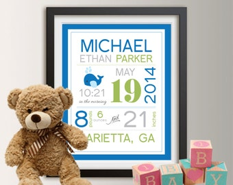 Birth announcement wall art, baby birth stats, birth stats wall art, baby subway art, personalized baby stats, birth art Baby Boy Gift 026