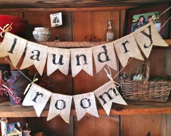 Burlap Laundry Room Bunting, Burlap Bunting, Bunting, Pennant, Garland, Home Decor