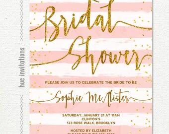 bridal shower invitation, gold glitter blush pink white stripes bridal shower brunch invitation, customized printable digital invitatio