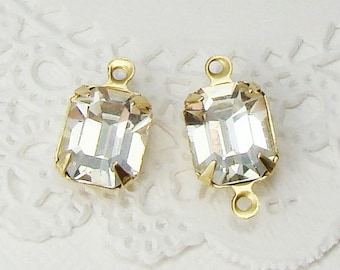 Vintage Swarovski 10x8mm Clear Crystal Octagon Rhinestone Set Stones in Brass, Matte Black, Antique Silver Drops or Connector Settings - 2