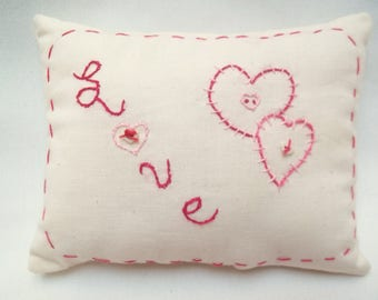 Love Hand Embroidered Primitive Mini Pillow,  Hearts, Valentine's Day, Wedding, Bridal Shower Decor