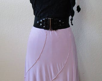 light lavender color long skirt with stitch edge plus made in U.S.A (V196)