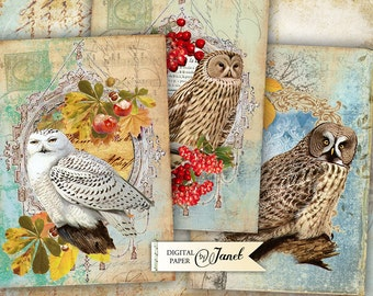 Autumn Time - digital collage sheet - set of 4 cards - Printable Download