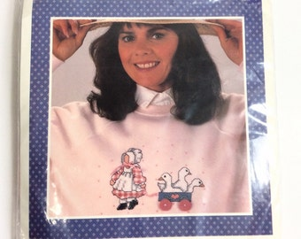Counted Cross Stitch Kit, Buttons & Bows, for Sweaters, Sweatshirts or T shirts, Girl and Geese, Banar Designs
