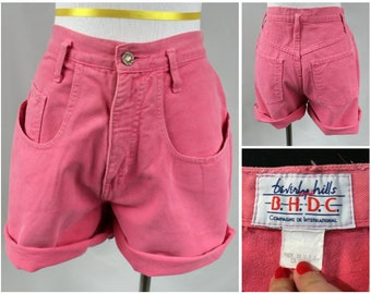 Vintage High Waisted Shorts, Women's High Waisted Denim Shorts, 90s High Waisted Denim, High Waisted Shorts, Pink Denim Shorts, Denim Short