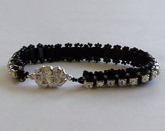 Black Seed Beads and Tila Beads with Preciosa Crystals Tennis Bracelet by Carol Wilson of Je t'adorn