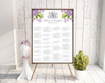 Wedding Seating Chart (Theresa) - Digital Files, DIY, Printable, Watercolor, Flowers, Floral, Purple, Monogram, Rustic, Southern, pdf, jpeg