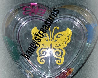 Home decor, candy dish,  heart dish, glass dish, trinket tray, ring dish, anything dish