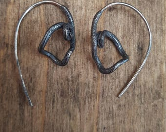 Sterling silver Grapevine Twig threaded earrings