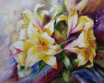 Yellow Lilies Oil painting flowers