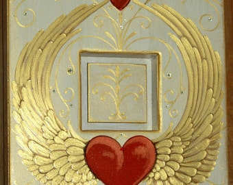 Hearts In Flight Upcycled Art/Frame with Swarovski crystal accents