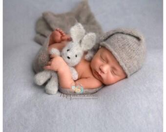 Hand knit mini bunny rabbit newborn photography prop