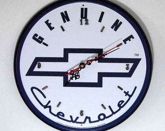 Chevy Logo Wall Clock   11.75 Diameter   New