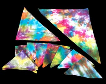 Unique Hand Tie-Dyed Rainbow Bandanas