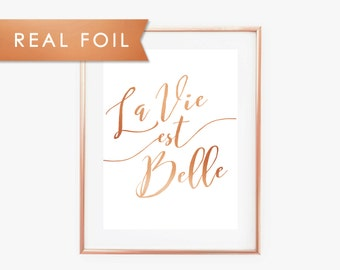 La Vie Est Belle (Life is Beautiful) French Quote Copper Art Print