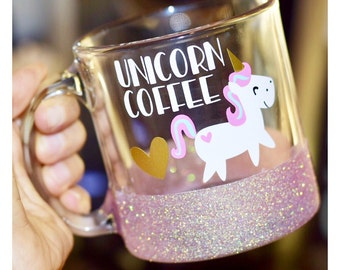 Unicorn Coffee Glitter Mug - Unicorn Glass Glitter Mug - Funny Unicorn Mug - Unicorn - Unicorn Mug - Unicorn Party Decor - Unicorn Party Cup