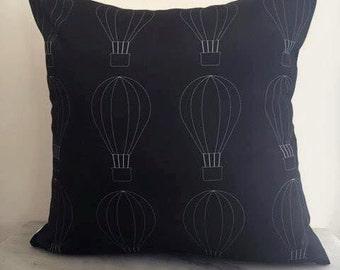 Black + White Hot Air Balloon Print Cushion Cover