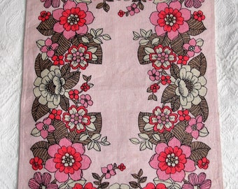 Vintage Tray Cloth Printed Flowers 1970's Cotton Linen Retro Kitsch