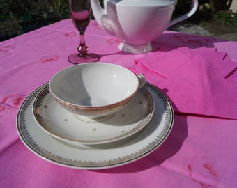 Cup, saucer and dessert plate, vintage Limoges porcelain, white, gold.
