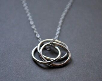 Sterling Silver Nested Hoops Necklace. Interlinked Hoops. Wear 2 ways.