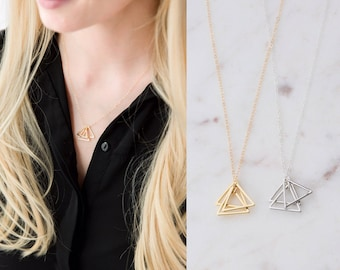 Gold Triangle Stack Necklace - 14K Gold Filled Triangle Necklace - Gold Geometric Pendant Necklace - Simple Everyday Necklace - Minimalist