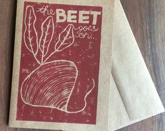 Beet Goes On maroon greeting card, hand printed linocut block print, vegetable pun card, 5 x 7