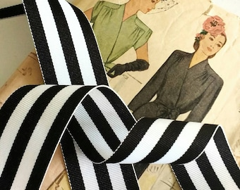 "Black and White Striped Ribbon, Striped Grosgrain Ribbon 1.5"" inch"