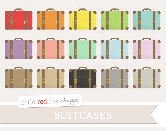 Suitcase Clipart Travel Clip Art Vintage Luggage Bag Case Trip Leather Buckle Object Icon Cute Digital Graphic Design Small Commercial Use